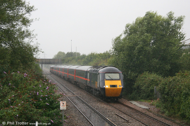 Atrocious weather and poor light (This is 'summer' 2007 after all!) accompanies GNER 43119 'Harrogate Spa' working VXC's 1E47, 0940 Newquay to Newcastle at Worle on 18th August 2007.