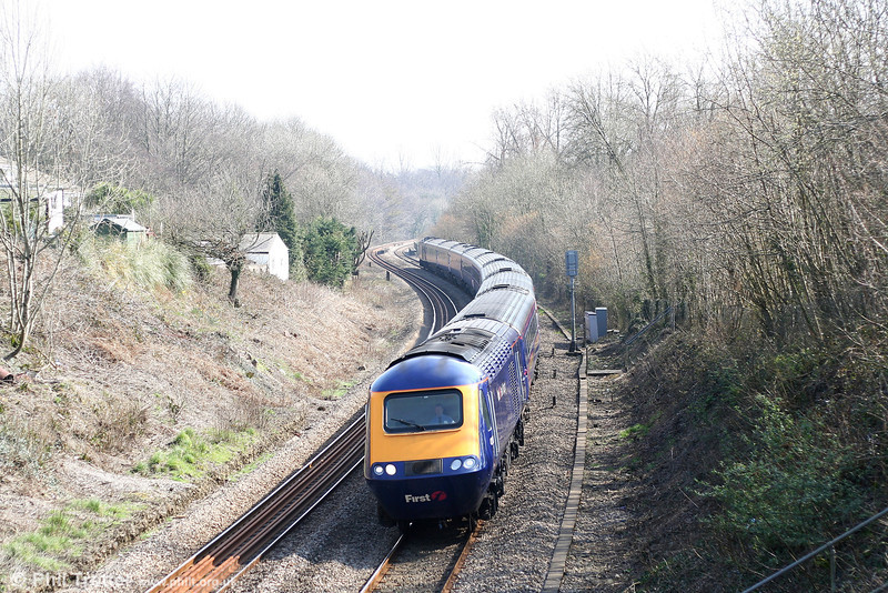 An unidentified MTU fitted HST passes Miskin with 1B20, the 0945 Paddington to Swansea on 24th March 2007.