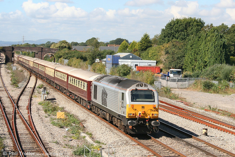 Silver liveried 67029 at Magor, bringing up the rear of 1Z27, 0913 London Paddington to Cardiff Central rugby special on 15th September 2007.