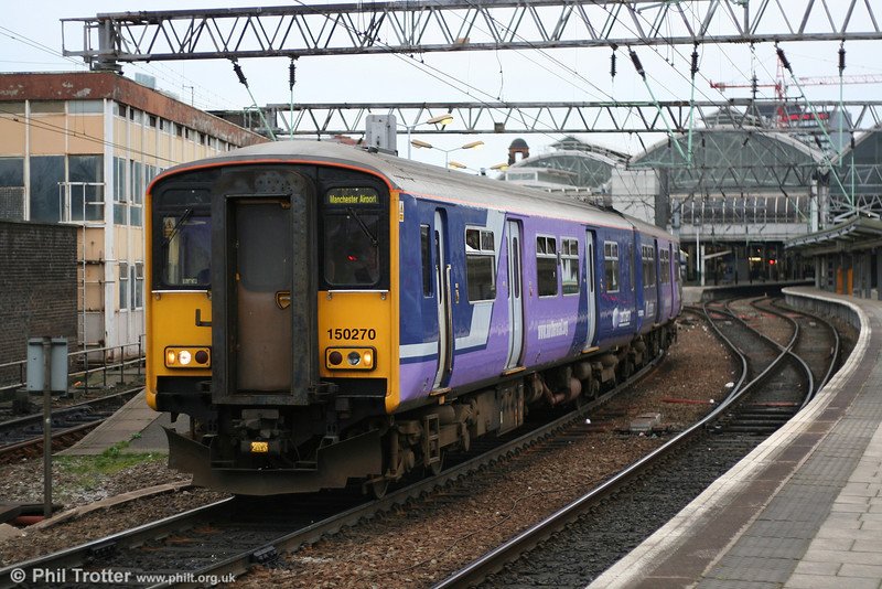 Northern Rail's new livery is illustrated by 150270, leaving Manchester Piccadilly on the final leg of the 1614 Liverpool Lime St. to Manchester Airport on 8th March 2007.