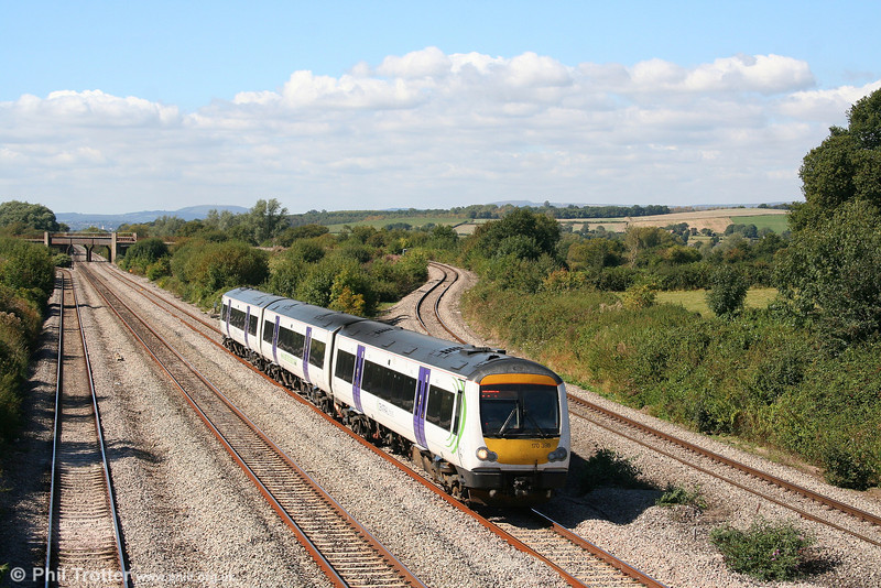 Porterbrook spot-hire liveried 170398 forms Central's 1245 Cardiff Central to Nottingham at Llandevenny on 15th September 2007.