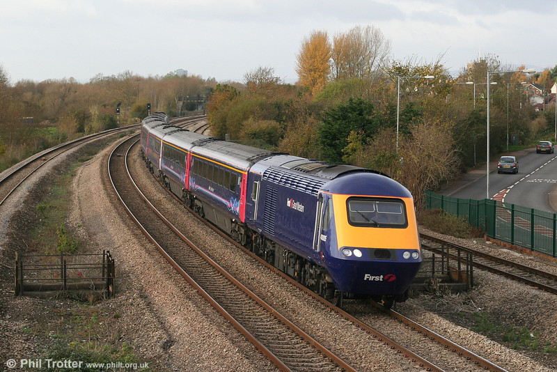 FGW's refurbished HSTs now present quite a pleasing appearance. Recently re-engineered 43005 heads the 0930 Swansea to London Paddington through Undy on 10th November 2007.