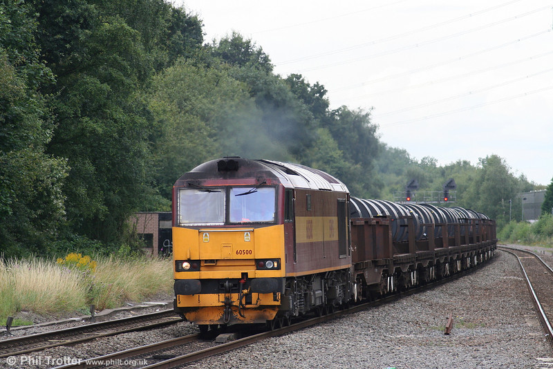 60500 'Rail Magazine' heads east through Water Orton with 6M96, 0548 Margam to Corby steel coil on 7th August 2007.