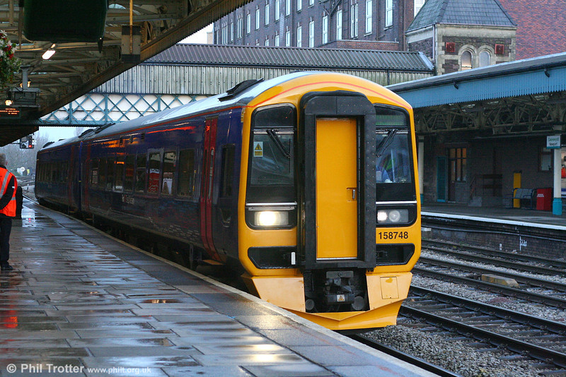 Newly refurbished 158748 at Newport forming the 1222 Portsmouth Harbour to Cardiff on 8th December 2007.