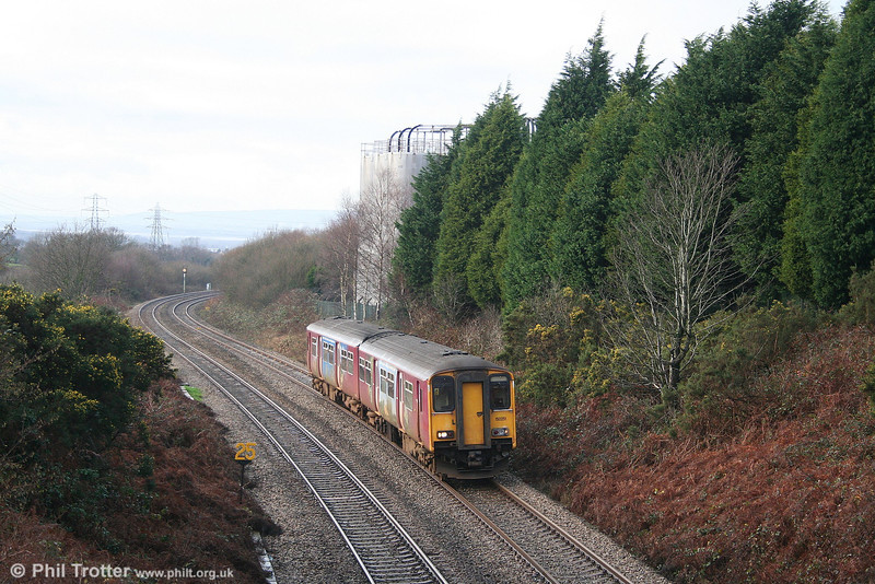 Recently transferred from FGW, Arriva's 150251 climbs the western side of Cockett Bank with the 1310 Milford Haven to Manchester Piccadilly on 6th January 2007.