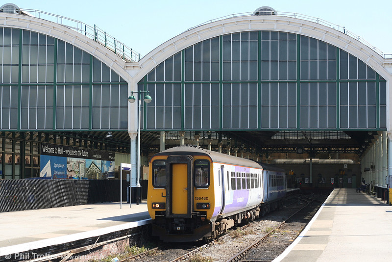 156460 displays the earlier version of Northern's corporate livery as it emerges from Hull forming the 1144 departure for Bridlington on 1st May 2007.