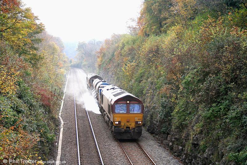66160 leads 66183 at Ewenny on 3J59, 1120 East Usk to Bridgend RHTT. 4th November 2007.