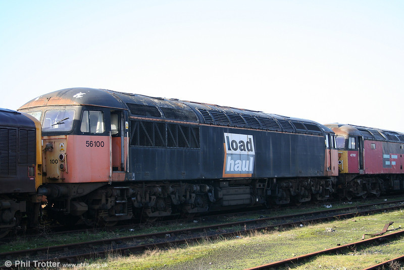 Stored 56100 in LoadHaul livery at Margam on 20th January 2007. 56100 was withdrawn in December 2003.