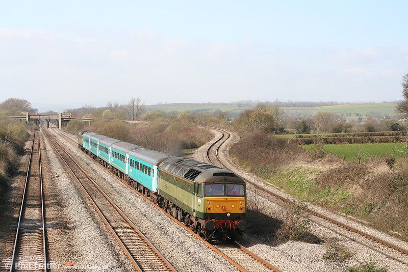 47815 (D1748) heads through Llandevenny with 1Z51, 1235 Cardiff to Gloucester rugby special on 17th March 2007. The one-time 47500 now again carries the name 'Great Western'.