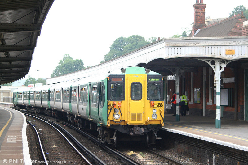 455 840 waits at Purley forming the 1515 London Victoria to Smitham on 9th June 2007. In refurbished form, these units now carry an additional vent for improved cab air conditioning.