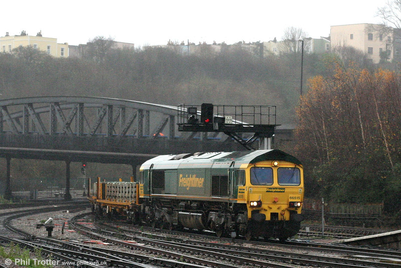 Freightliner 66515 at Bristol Temple Meads with a train of sleepers on 8th December 2007.