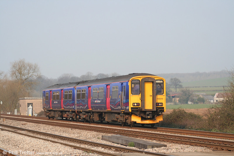 FGW Local Lines liveried 150249 at Bishton with the 1000 Cardiff - Southampton on 31st March 2007.