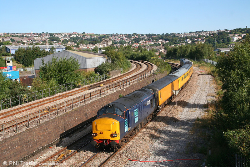 DRS 37259 at Landore heading 1Z20, 0619 Paddington to Swansea NR replacement measurement train on 24th August 2007. 37608 is at the rear.