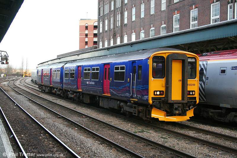 FGW's 'Local Lines' liveried 150249 ambles through Newport on 27th January 2007. Having failed to couple to the 1332 Westbury - Cardiff at Bristol, the unit was running light to Cardiff to form the 1600 Cardiff - Weymouth service.