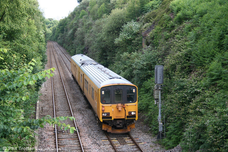 Network Rail's class 150-derived Track Assessment Unit 950001 at Llandarcy, Swansea District Line on 19th June 2007. Although having the appearance of a conversion, the unit was built new for this purpose in 1987.