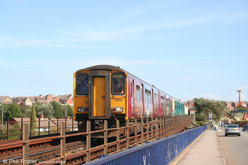ATW 150242 crosses the causeway from Barry Island forming the 1526 Barry Island to Taffs Well on 27th August 2007. Normally this service would run through to Pontypridd; the short working was due to engineering work.