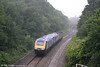 A view of re-engineered FGW power cars 43128 and 43188 (nearest the camera) at Llansamlet as they head for Landore behind 47813 'John Peel' on 28th June 2007.