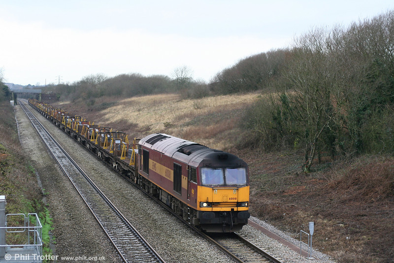 60018 on Stormy Bank with the late running 6H25, 0921 Margam to Llanwern slabs on 31st December 2007.