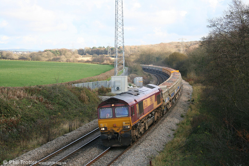 A little something for the weekend... 66220 passes Llangewydd with a train of ballast for storage at Margam Yard on 21st November 2007.
