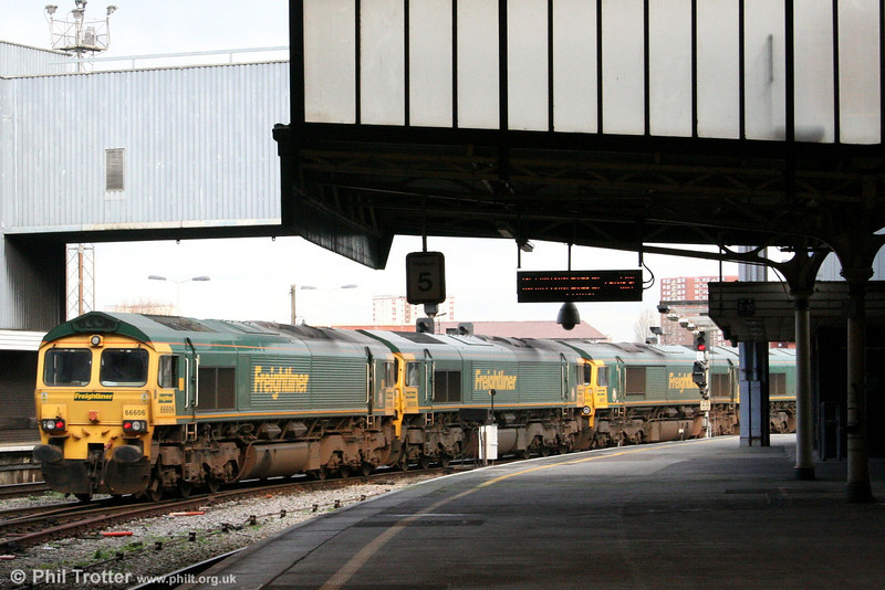 Freightliner's 66606, 66530, 66551 and 66556 pass through Bristol Temple Meads heading for Kingsland Road stabling point on 27th January 2007.