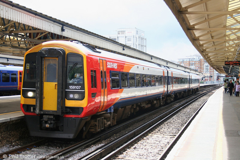 SWT 159107 at Basingstoke again, returning to London Waterloo as the 1345 from Salisbury on 16th June 2007.