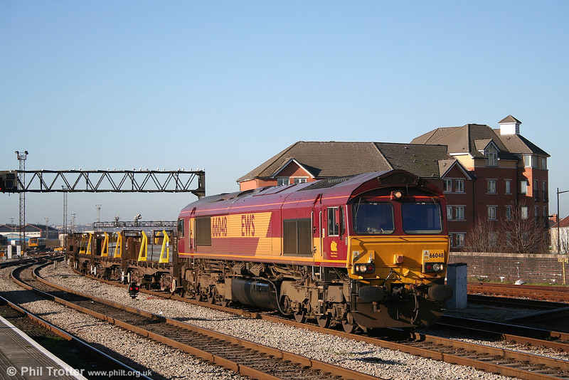 An everyday scene - except that the sun was shining! 66048 at Cardiff with 6H25 0954 Margam - Llanwern loaded steel on 3rd February 2007.