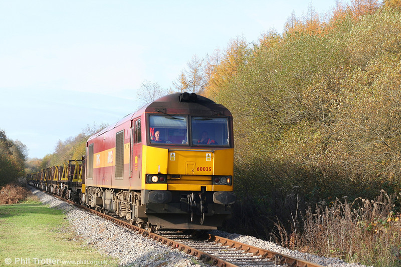 60035 once again. This time approaching Fountain Crossing, Aberkenfig with the diverted 6H25, 0849 Margam to Llanwern slabs on 4th November 2007.