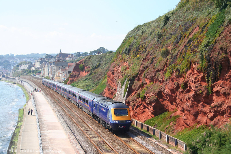 The 0956 Penzance to London Paddington, in the charge of 43187, passes along Dawlish sea wall on 8th September 2007.