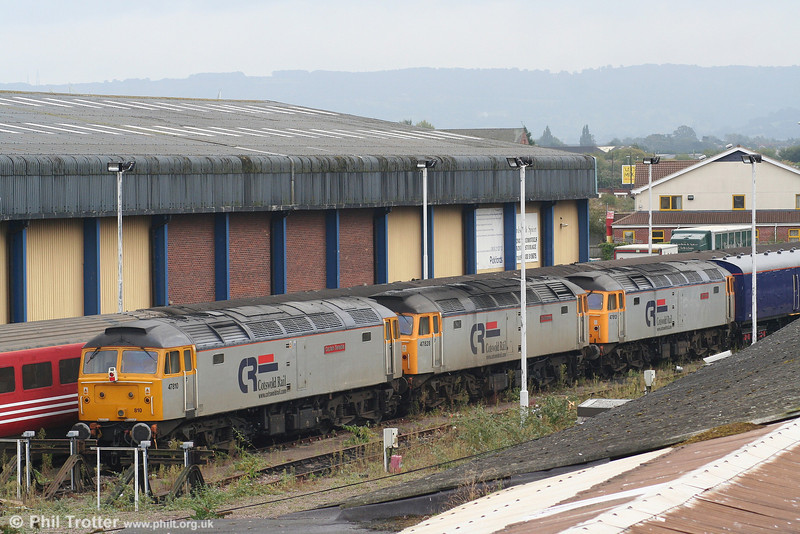 A trio of CR's 47/4s at Gloucester on 29th September 2007. Left to right: 47810 'Captain Sensible', 47828 'Joe Strummer' and 47813 'John Peel'.