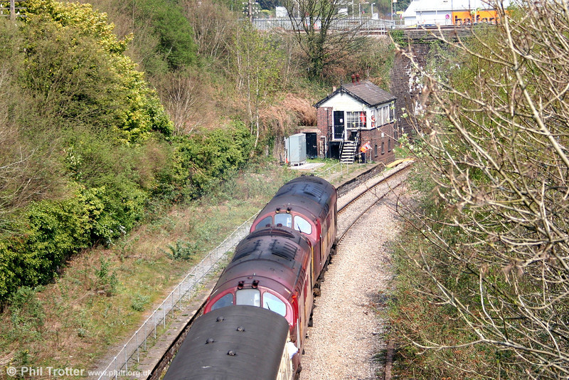 37422 and 37410 at the former Neath Riverside station, approaching Neath & Brecon Junction Signal Box to collect the token for the Onllwyn branch with the 'Principality Freighter' on 14th April 2007.