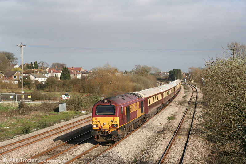 67021 at Magor with Northern Belle stock forming 1Z96, 1228 London Victoria to Cardiff 'Rugex' on 17th March 2007.