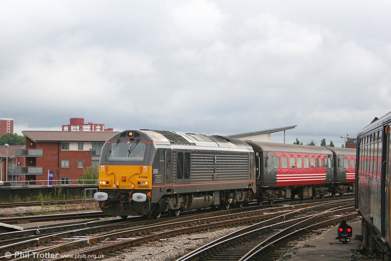 67006 'Royal Sovereign' rolls into Bristol Temple Meads from Barton Hill with the ecs for the 0834 Bristol - Weymouth Summer Saturday extra on 21st July 2007.