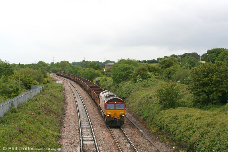 66238 passes through the site of the original Pyle Station with an engineers' spoil train from the Bridgend area on 27th May 2007.
