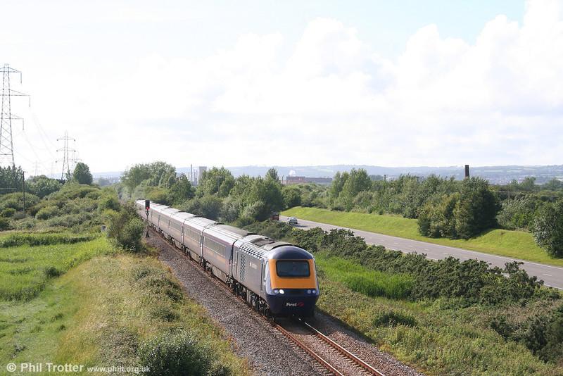 43017 heads the 1505 Pembroke Dock to London Paddington through Loughor on 14th July 2007.