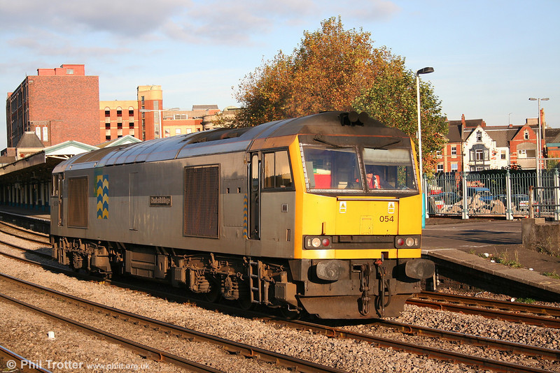 A study of 60054 'Charles Babbage', still with its BR Railfreight 'Trainload Petroleum' markings at Newport on 2nd November 2007.