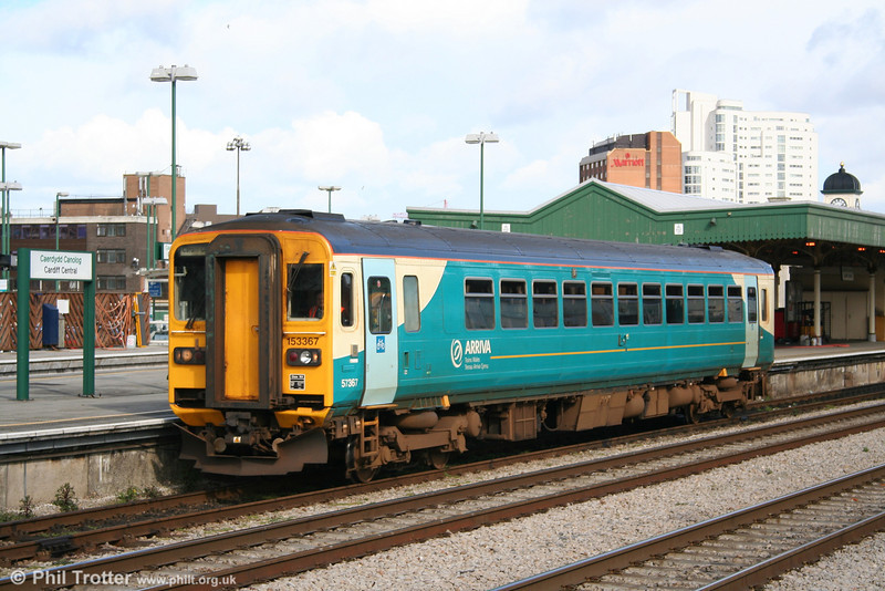 ATW 153367 in full sun at Cardiff Central on 19th March 2007. The unit had arrived on 2B58, the 1310 stopping service from Swansea.