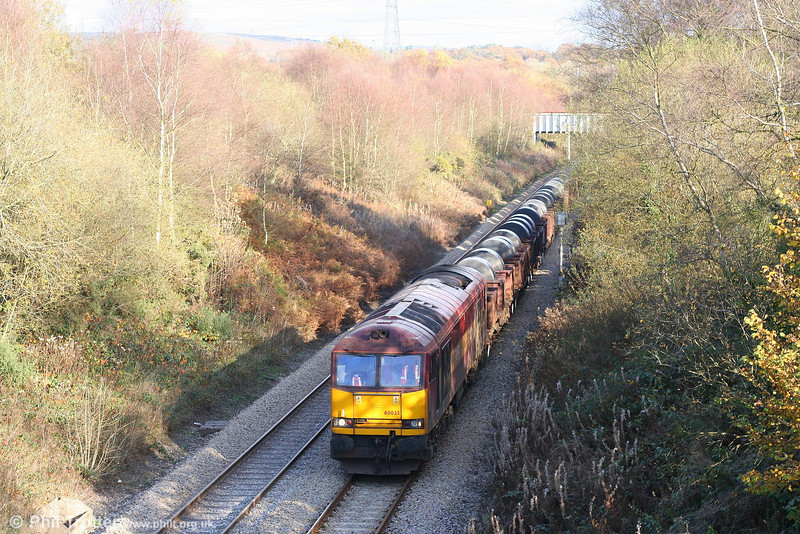 60035 passes Llangyfelach with what turned out to be a lengthy (making up, perhaps for the current lack of a Sunday train) 6B41, 1316 Margam to Trostre on 3rd November 2007.