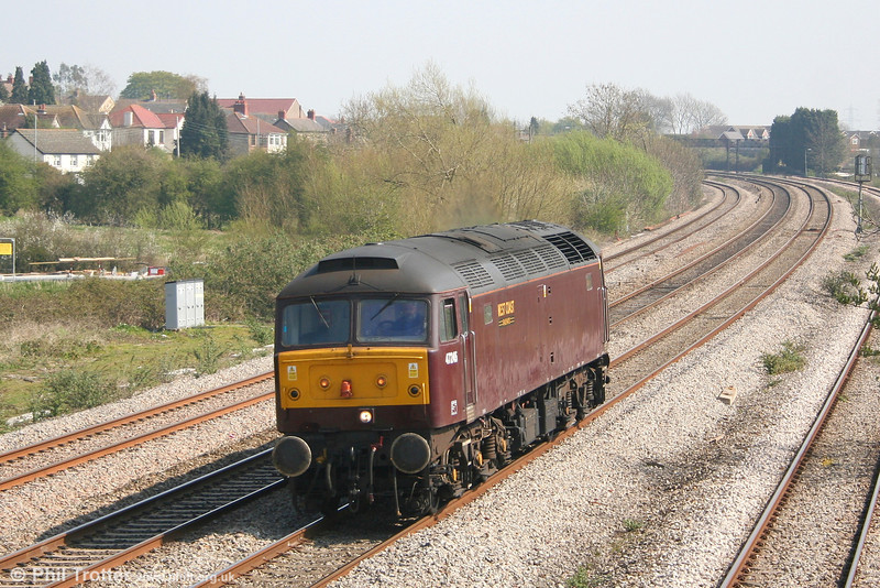 West Coast's 47245 passes Magor as 0Z43, 1240 Bristol - Preston on 8th April 2007. The loco was shadowing 4-6-2 no. 71000 'Duke of Gloucester' on its run between the same points as part of the weekend's 'The Great Britain' series of railtours.