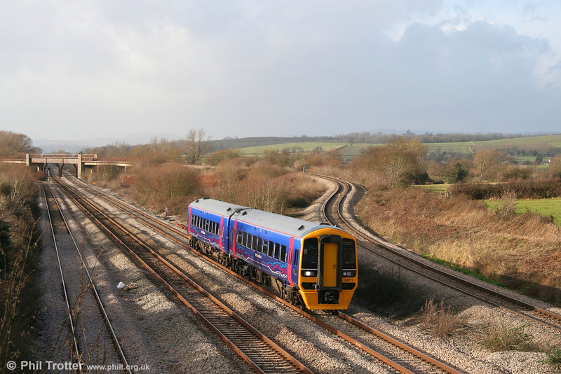 Refurbished FGW 158771 passes Llandevenny forming the 1230 Cardiff to Portsmouth Harbour on 29th December 2007.