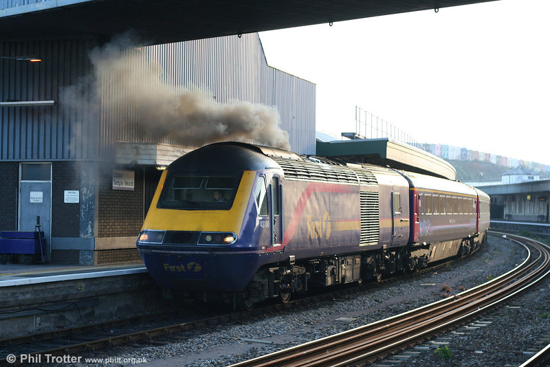 Valenta Sunset: Now one of the very few Paxman Valenta power cars still in service with FGW, 43180 graphically illustrates the lower efficiency of its power unit as it prepares to leave Bristol Temple Meads at the head of the 1430 service to London Paddington on 17th November 2007.