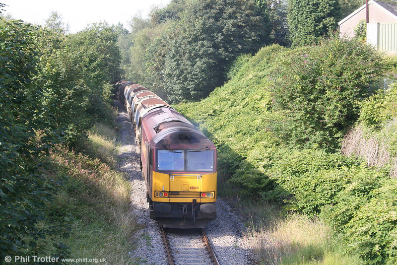 60100 'Pride of Acton' brings up the rear of 6W56, Neath & Brecon Junction to Newport ADJ at Neath Abbey on 1st August 2007.