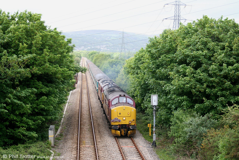 37422 'Cardiff Canton' and 37406 'The Saltaire Society' near Felin Fran, Swansea District Line with 1Z66 the 0717 Altrincham - Cardiff, 'The Heart of Wales Express' on 12th May 2007.