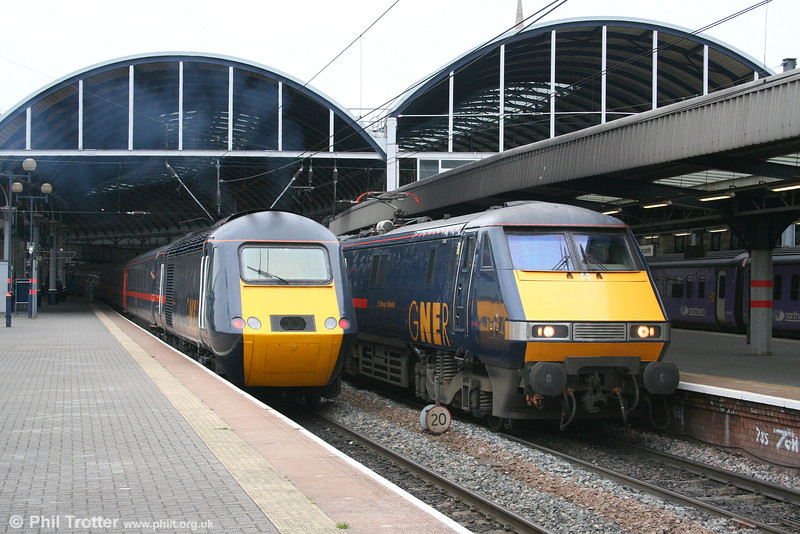 Representatives of the GNER diesel and electric fleets, including 91114 'St. Mungo Cathedral' at Newcastle on 4th May 2007.