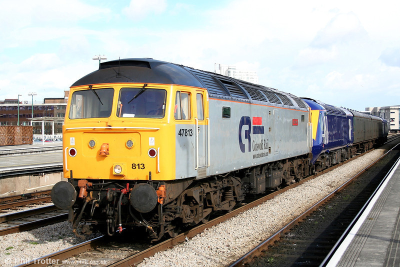 Cotswold's 47813 'John Peel' at Cardiff Central, returning re-engineered FGW power cars 43122 and 43017 from Brush, Loughborough to Landore TMD on 19th March 2007. The move (5Z70) had begun four days earlier on 16th March, but the consist had split (!) near Cheltenham.