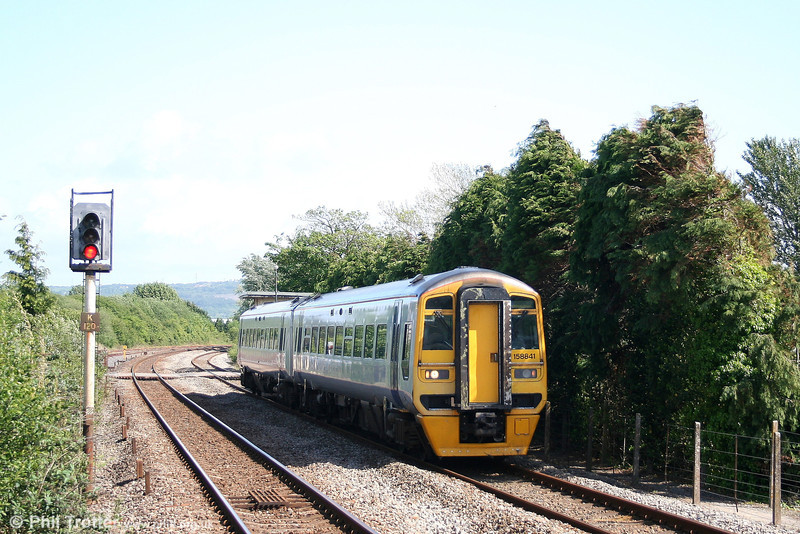 Since the transfer-in of class 175s, 158s are the exception, rather that the rule on West Wales services. 158841 passes Kidwelly forming the 1034 Manchester Piccadilly to Milford Haven on 19th May 2007.