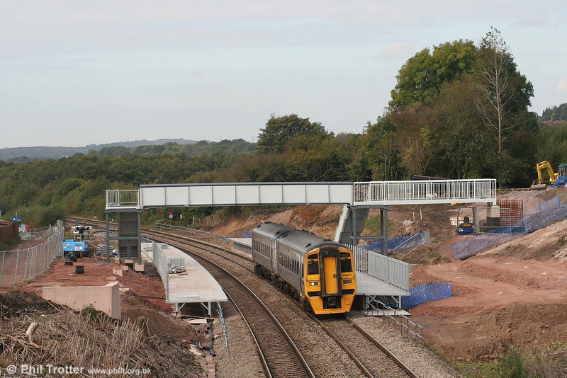 Work on the new station at Llanharan is making good progress - and photographers will have a new vantage point! This was the scene on 6th October 2007 with ATW's 158839 passing, forming the 1017 Maesteg to Cardiff Central.
