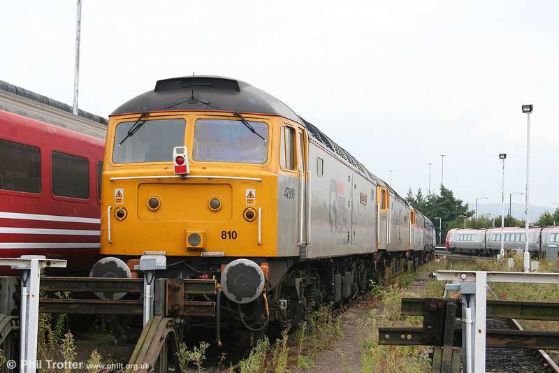 Cotswold's silver liveried 47/4s are a familiar sight around the UK, appearing on railtours and power car transfers for FGW. 47810 'Captain Sensible' rests at Gloucester on 29th September 2007.