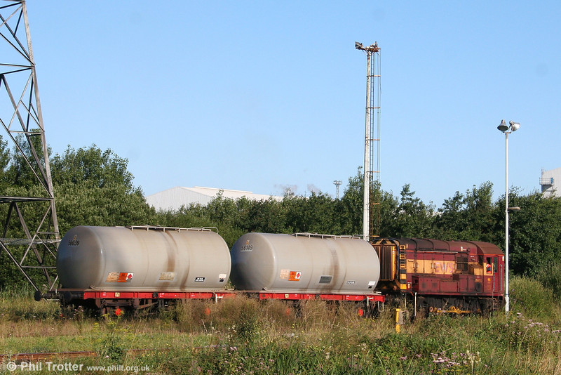 08630 shunts the fuel tanks for Margam Depot at Knuckle Yard on 8th August 2007.