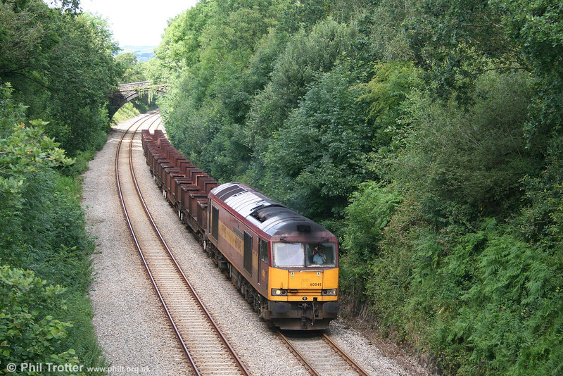 60045 'The Permanent Way Institution' at Pontlliw, Swansea District Line, with 6B16, the - notionally! - 1535 Trostre to Margam empties on 14th July 2007.