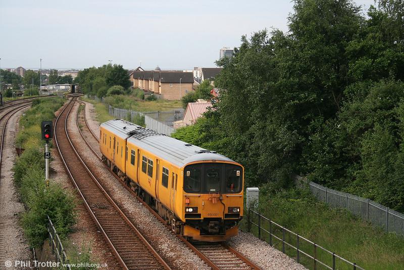 Network Rail's class 150-derived Track Assessment Unit no. 950001 leaves Swansea as 2Z08, 0715 Swansea - Llandeilo Junction - Port Talbot - Onllwyn - Carmarthen on 19th June 2007.